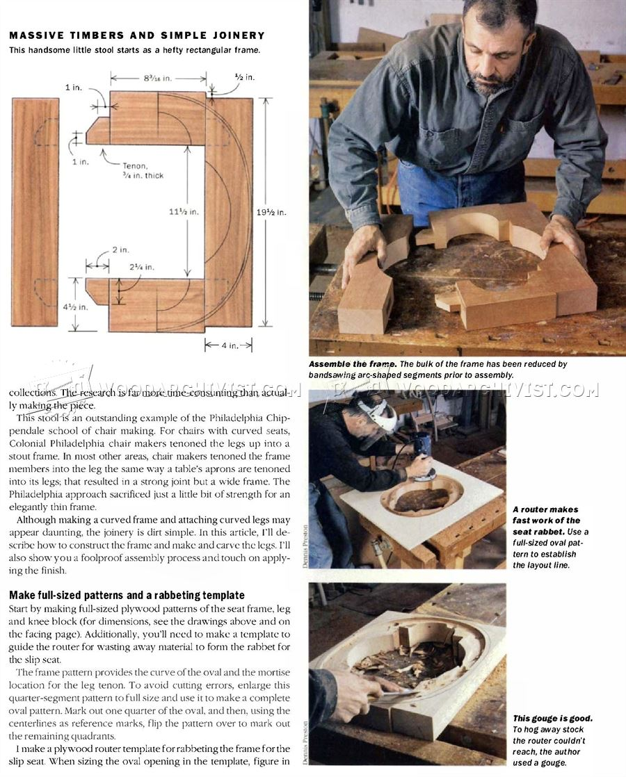 Oval Chippendale Stool Plans