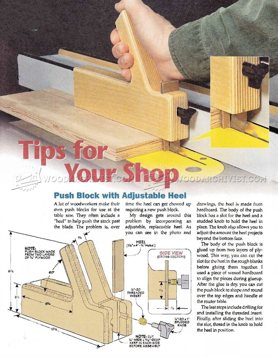 #3095 Table Saw Push Block Plans