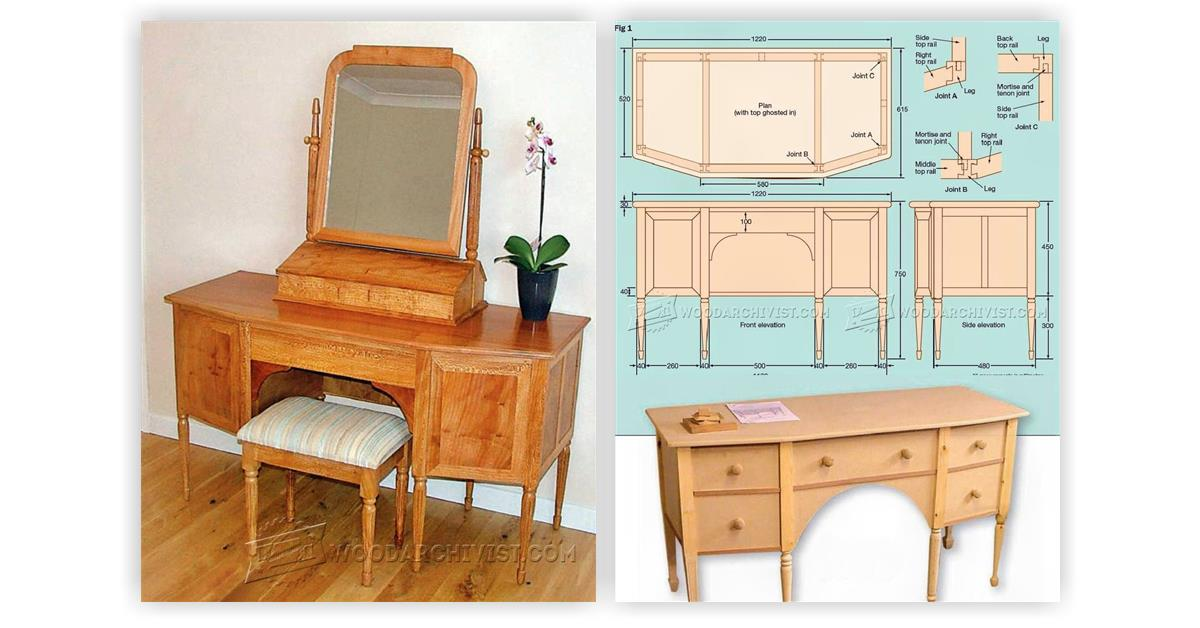 vanity makeup table woodworking plans life style by. Black Bedroom Furniture Sets. Home Design Ideas