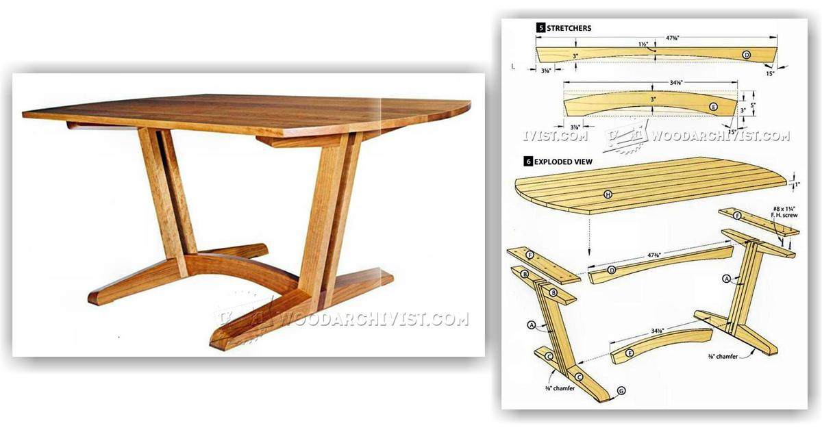 Dining room table plans woodarchivist for Dining room table designs plans