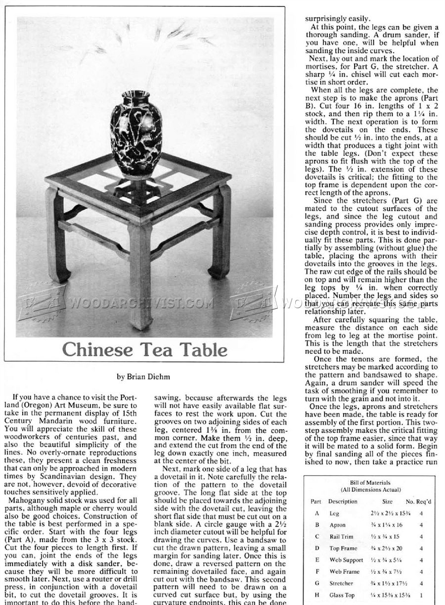 Chinese Tea Table Plans