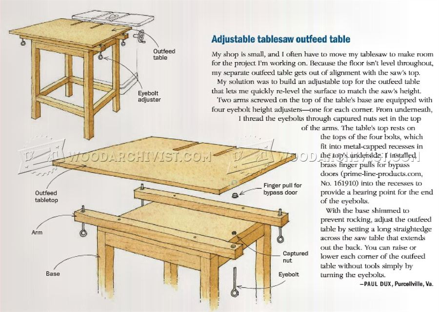 Adjustable Table Saw Outfeed Table • WoodArchivist