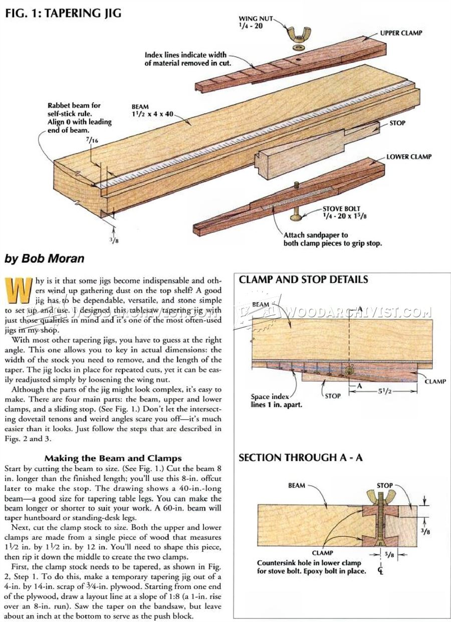 Table Saw Taper Jig Plans