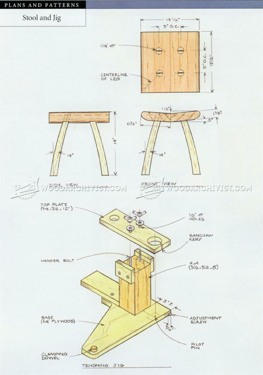 Blueprints For A Modern Four Bedroom Home: Small Stool Plans • WoodArchivist