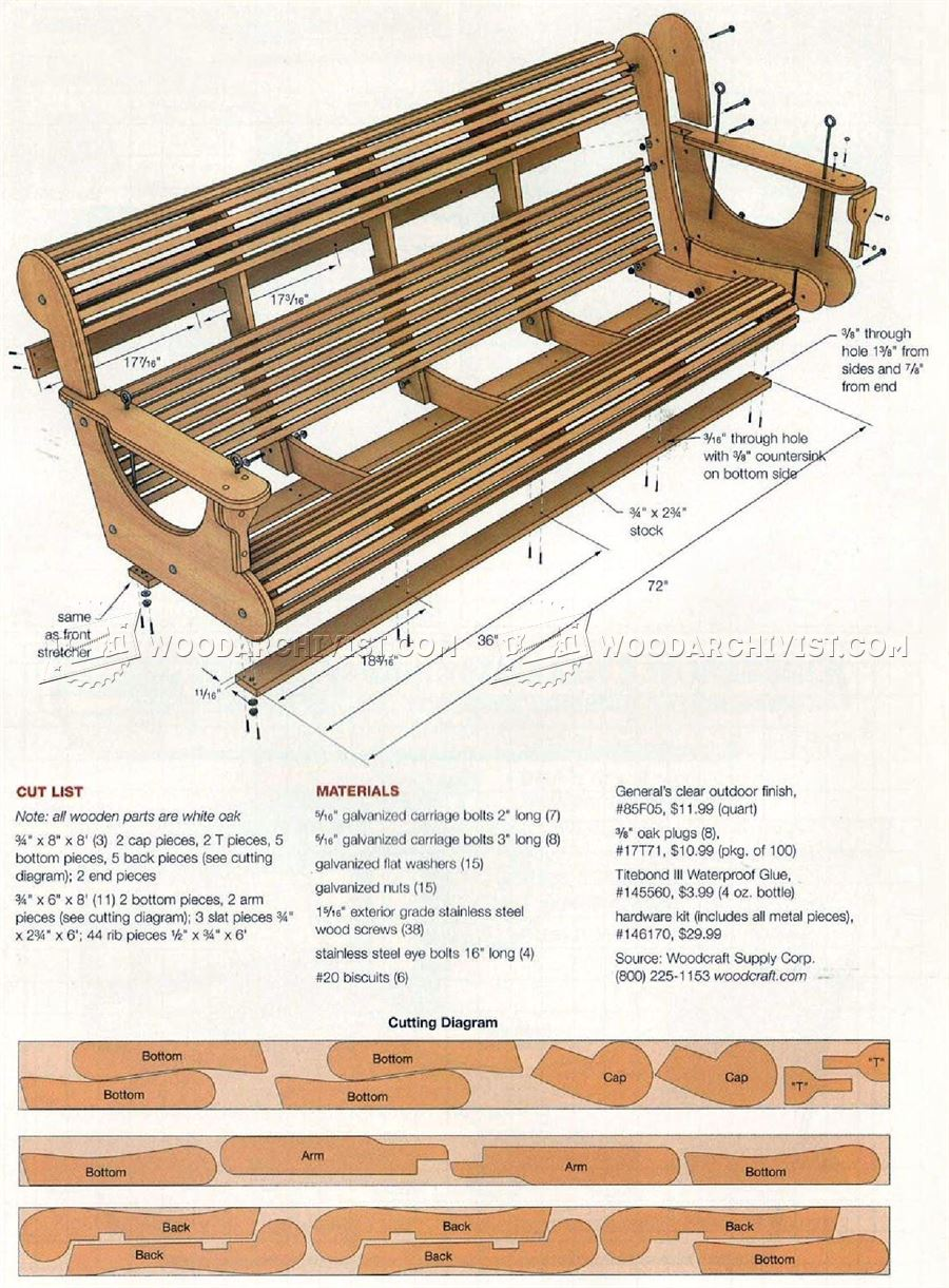 Classic porch swing plans woodarchivist for Outdoor swing plans
