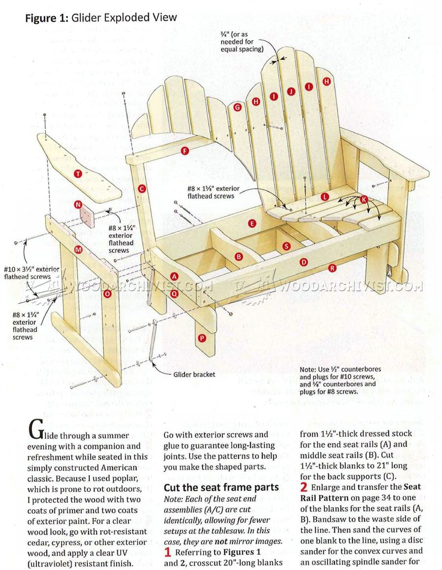 Adirondack Glider Bench Plans Woodarchivist