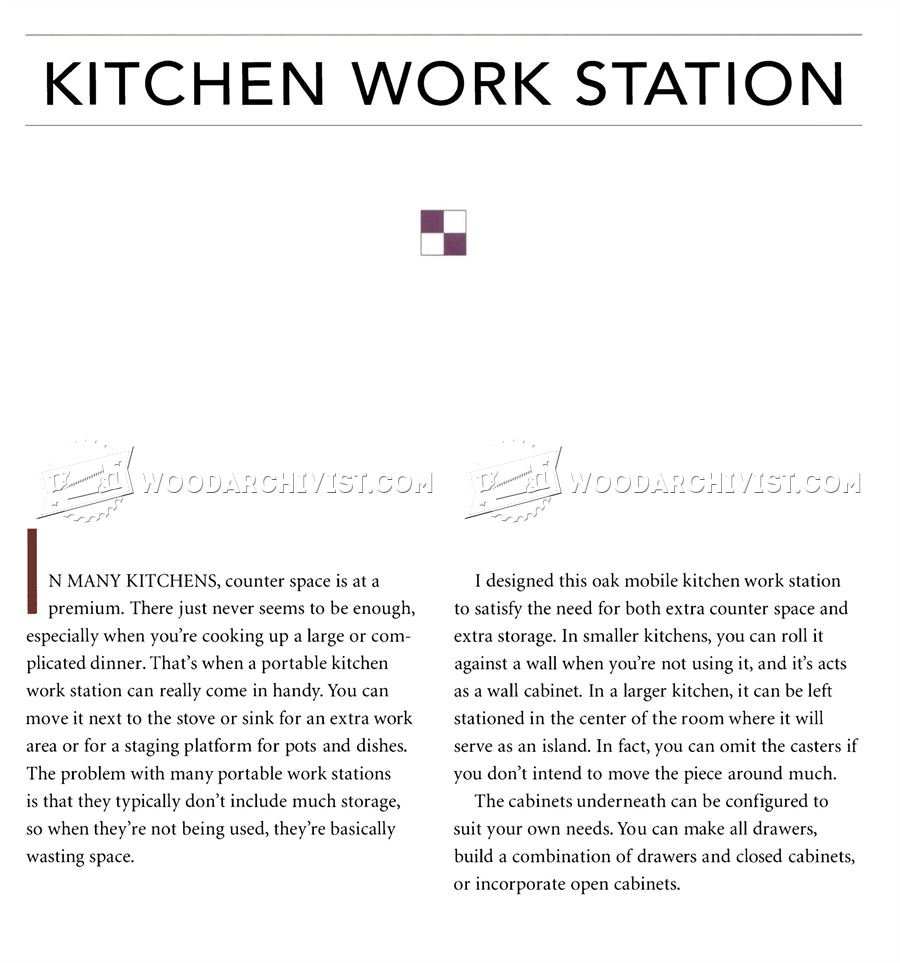 #3201 Kitchen Work Station Plans