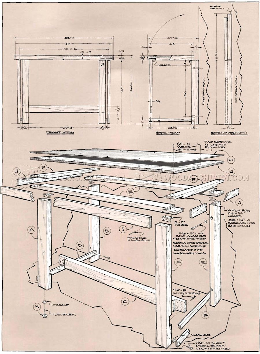 Fold Down Workbench Plans