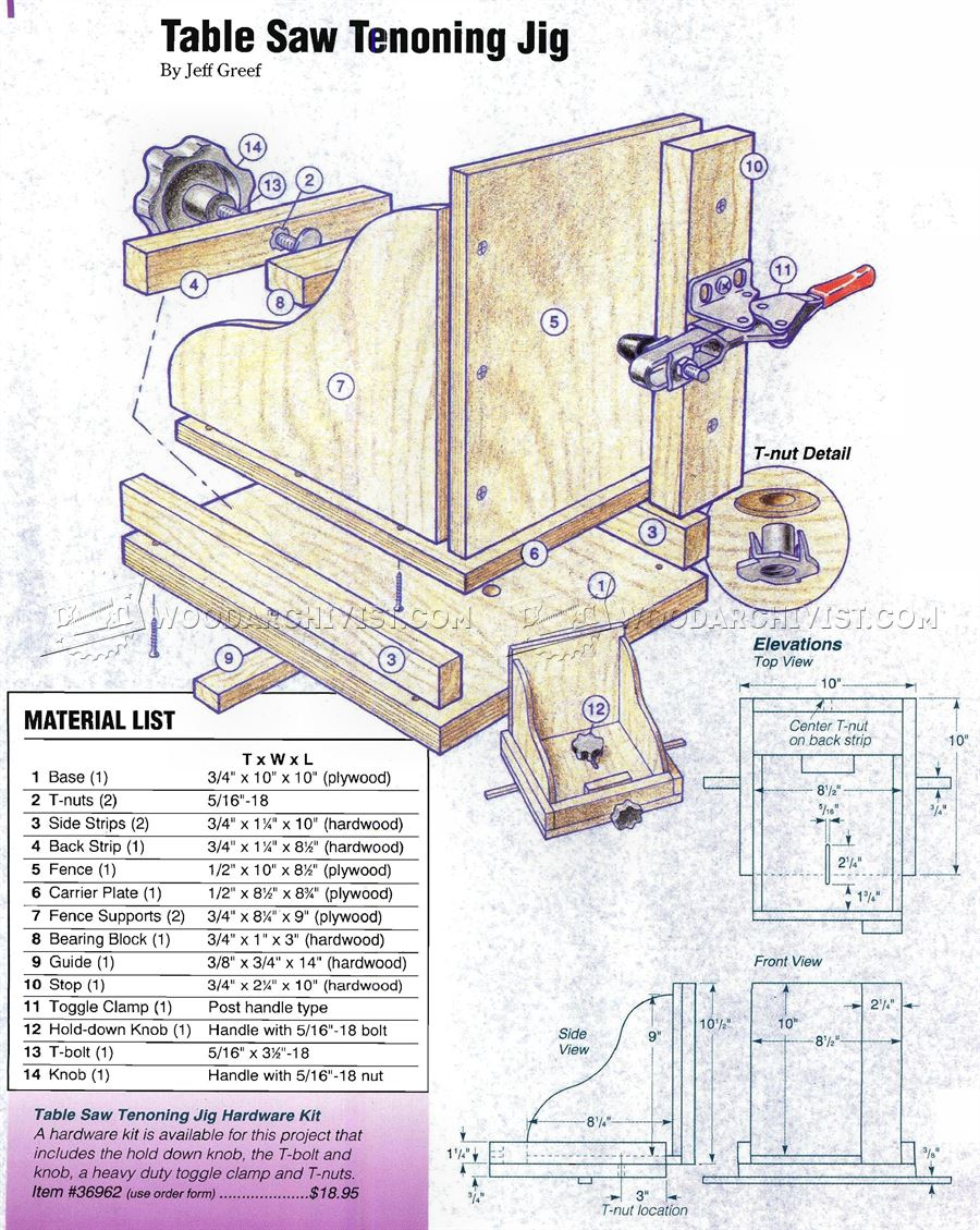 Table Saw Tenon Jig Plans