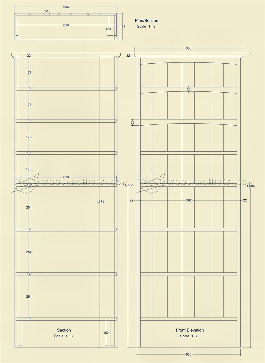Narrow Book Shelves Plans