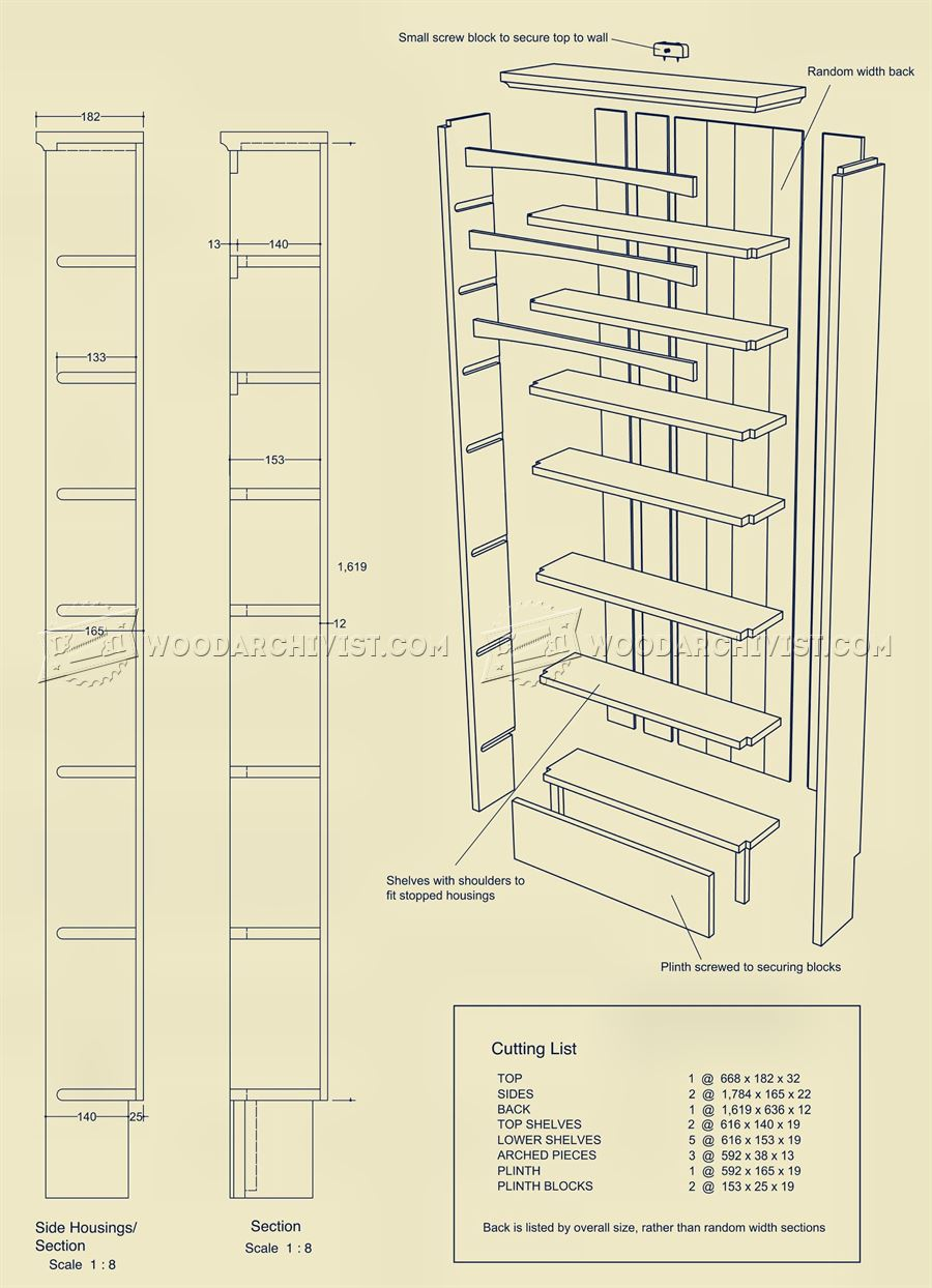 3208 Narrow Book Shelves Plans - Furniture Plans