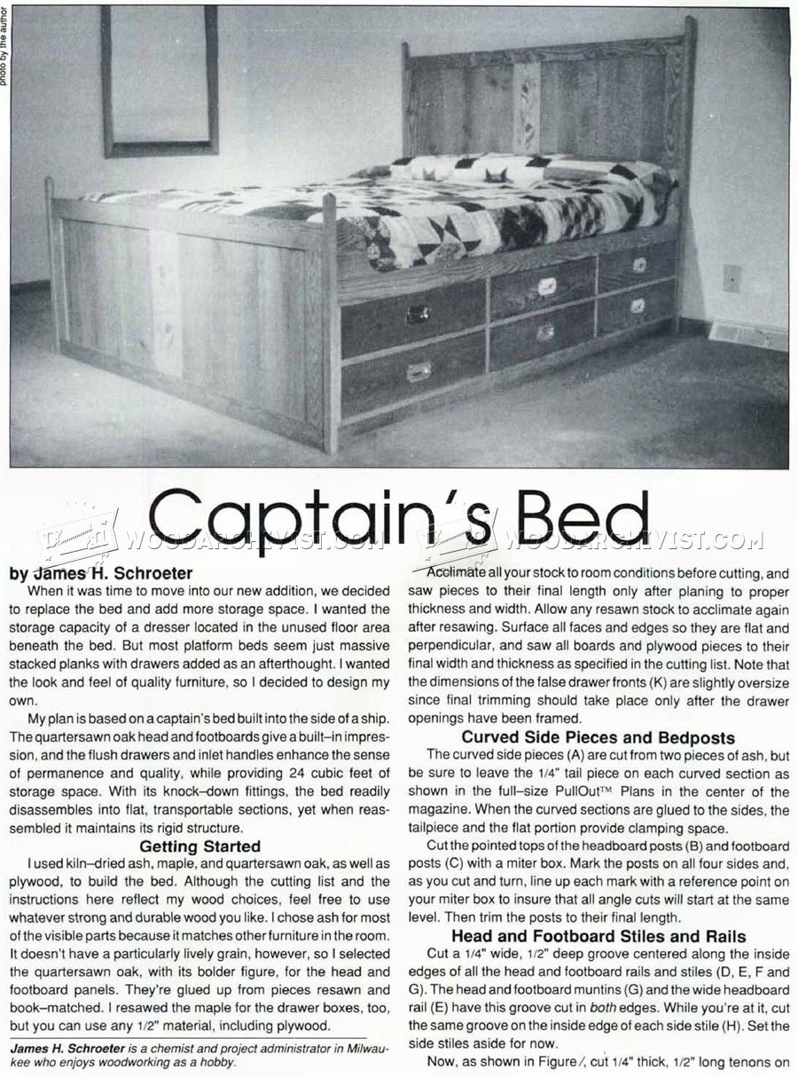 Captains Bed Plans