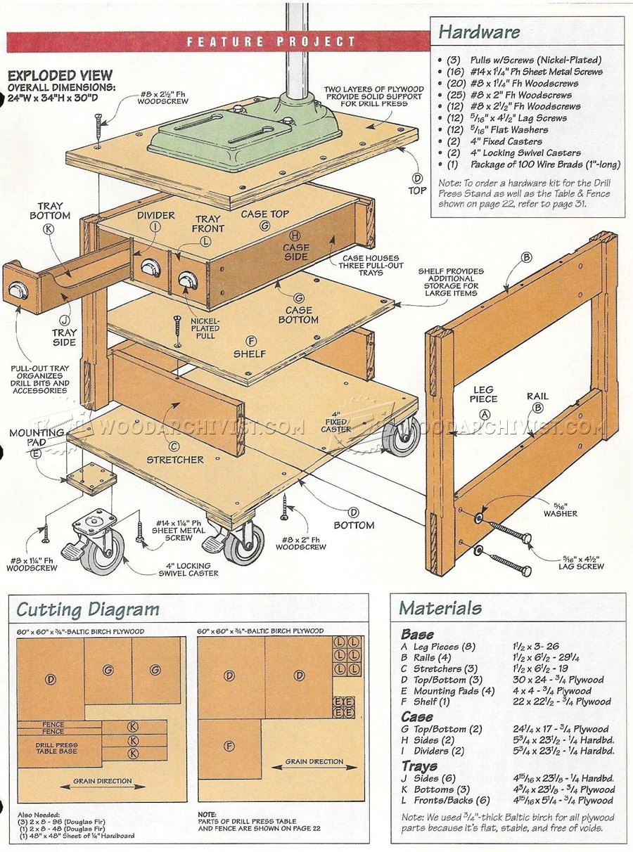 #3217 Mobile Drill Press Stand Plans