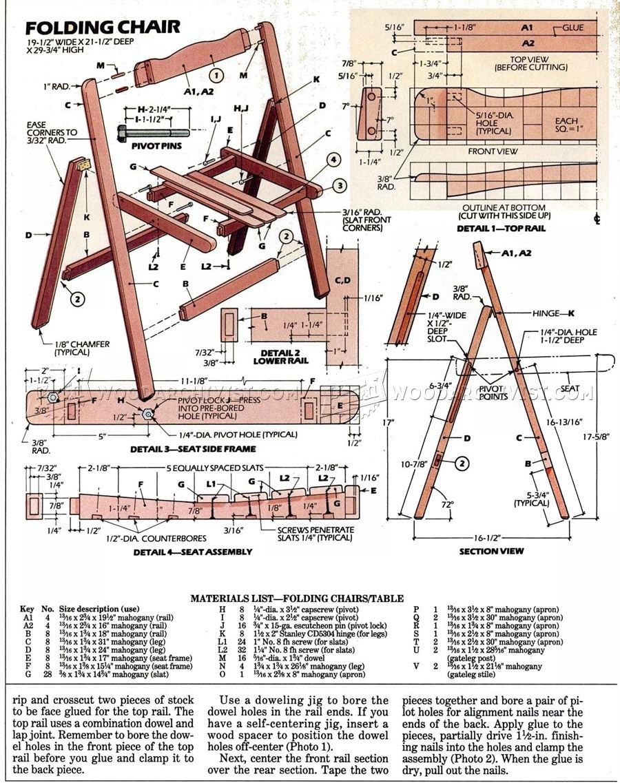 Folding table and chairs set plans woodarchivist for Folding table plans free