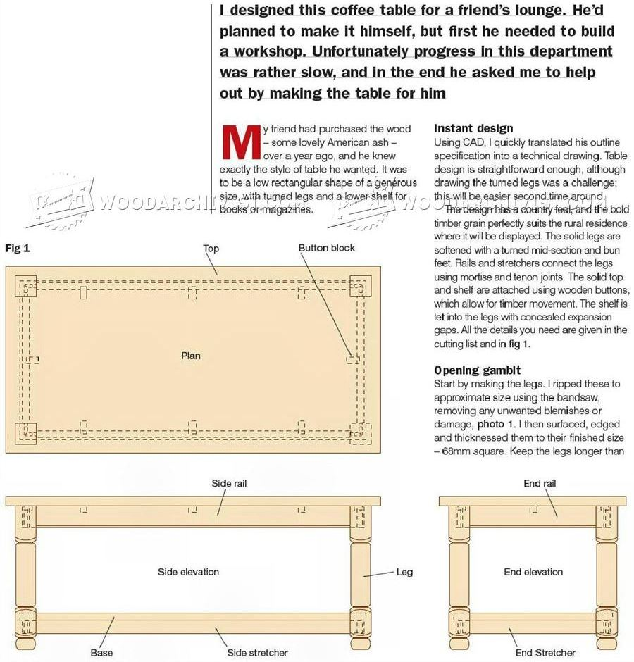 Ash Coffee Table Plans
