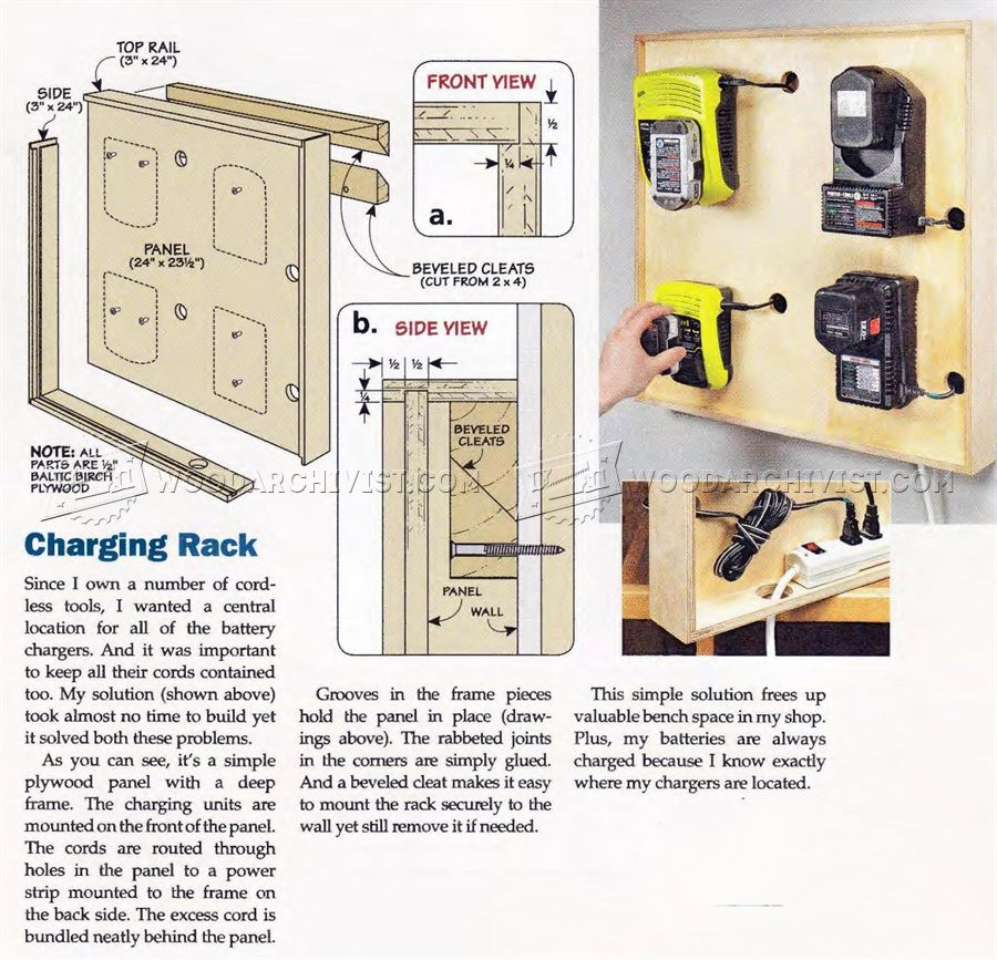 Cordless Tool Charging Station Plans