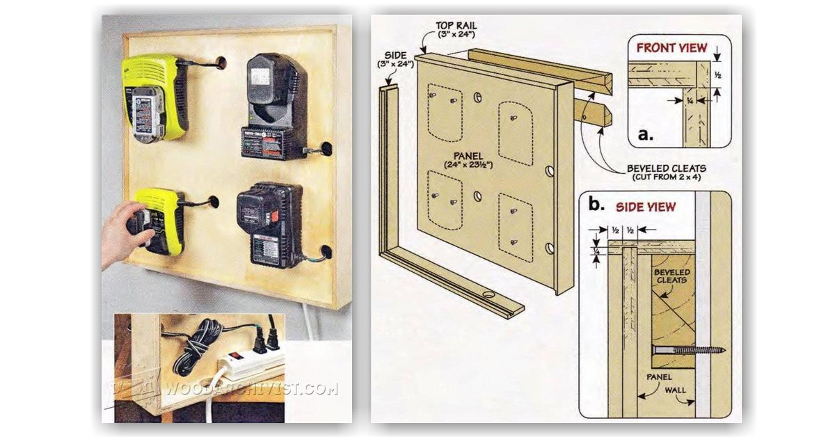 Cordless Tool Charging Station Plans • WoodArchivist