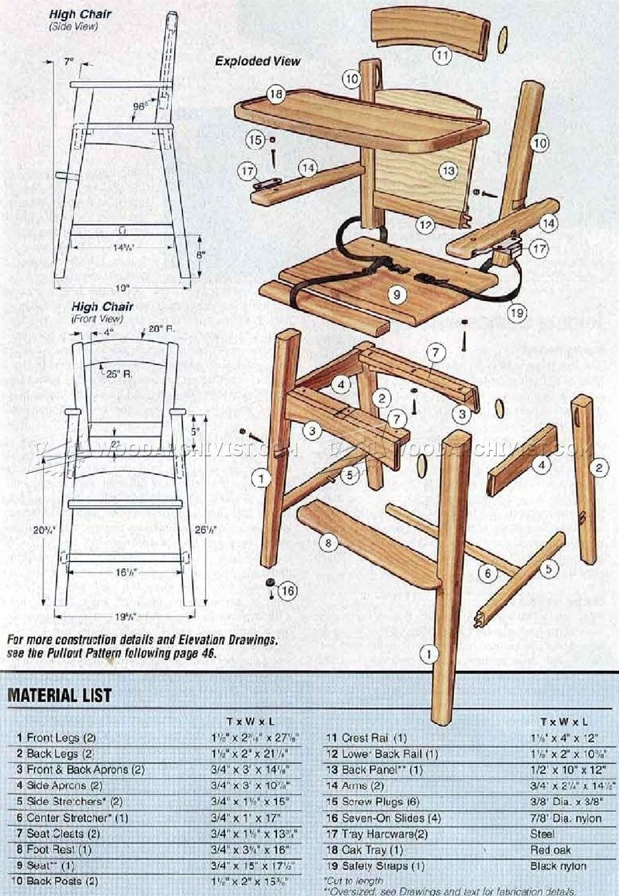 Wooden High Chair Plans • WoodArchivist