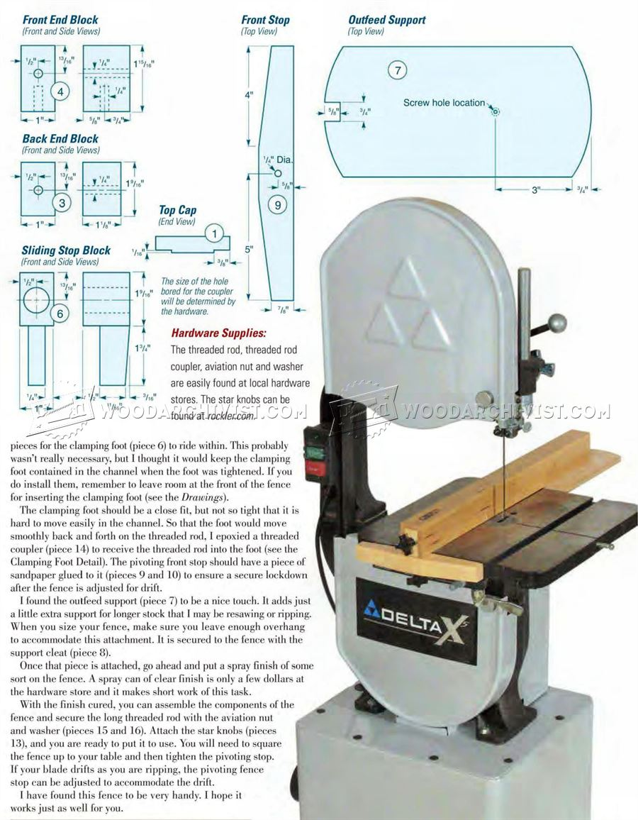 Band Saw Rip Fence Plans