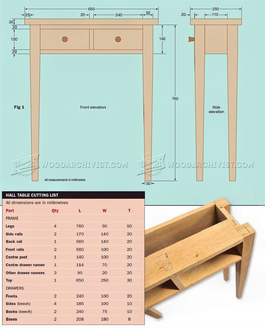 Foyer Table Woodworking Plans : Hall table plans woodarchivist