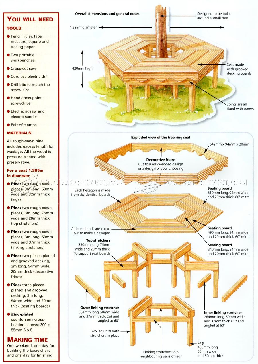 How To Build A Hexagon Bench Around Tree - Round Designs
