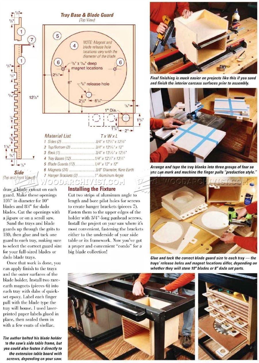 Table Saw Blade Organizer Plans