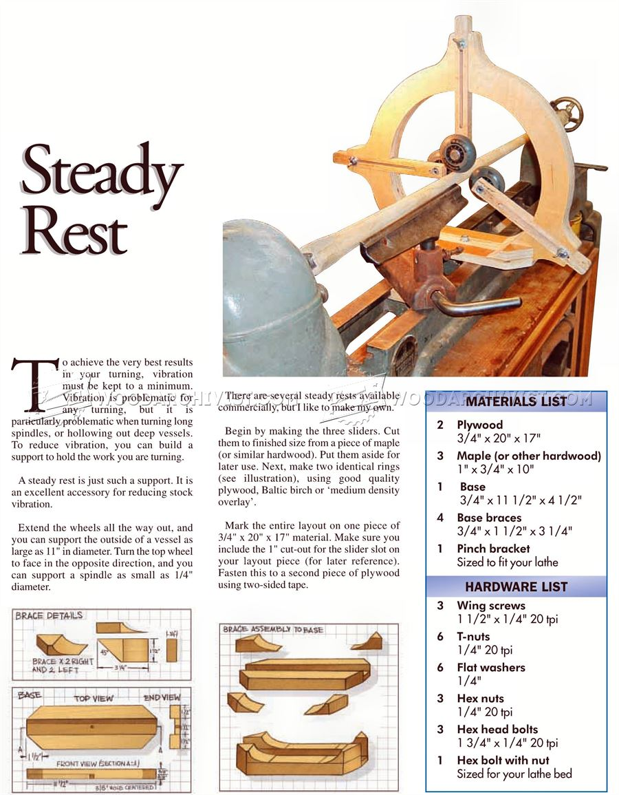 Wood Lathe Steady Rest Plans