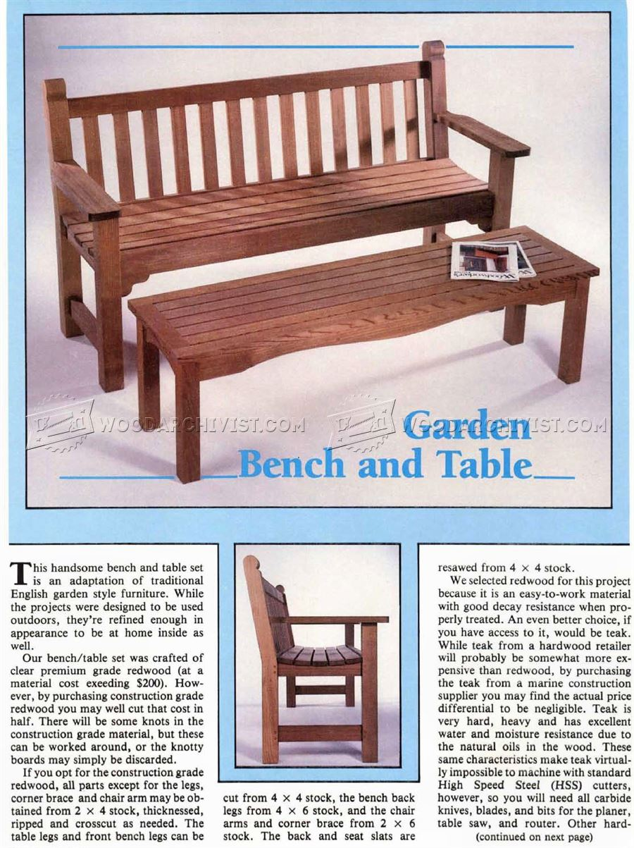 Garden Furniture Plans garden bench and table plans • woodarchivist