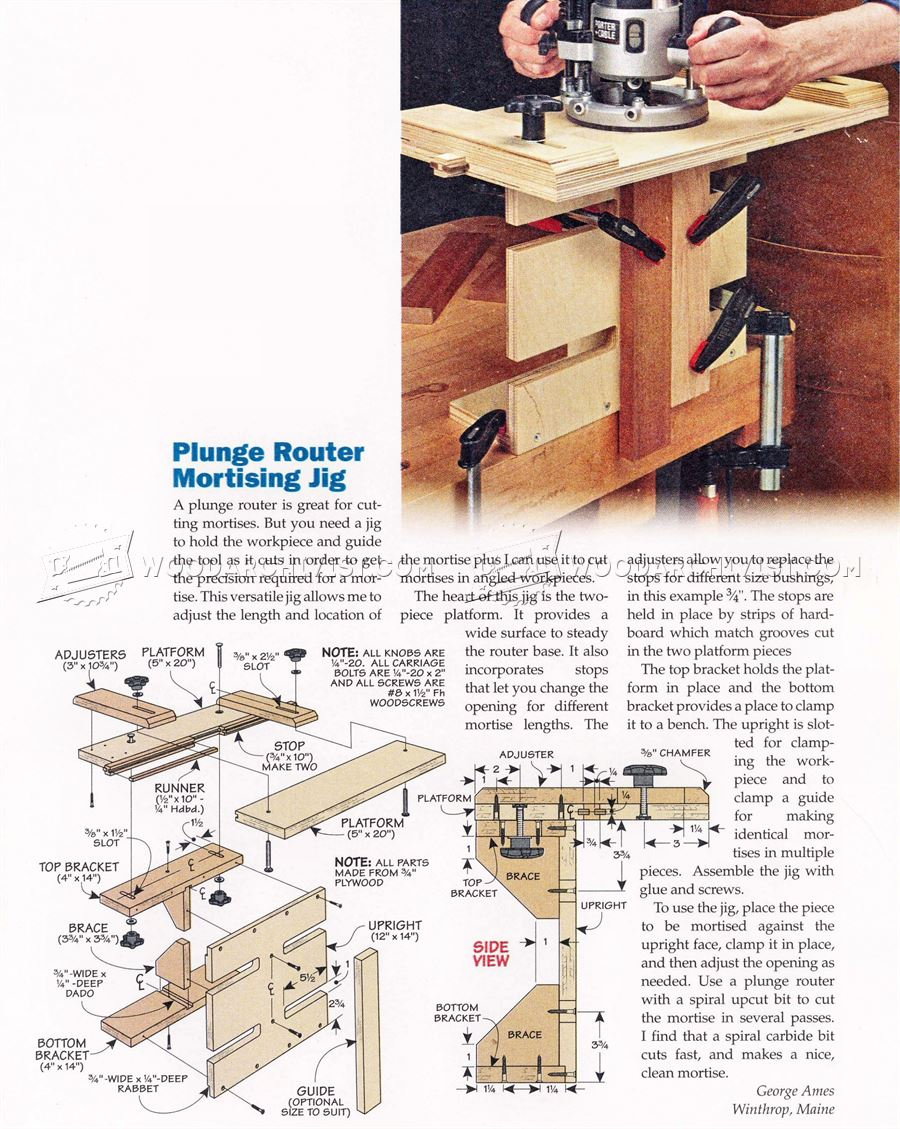 Plunge Router Mortising Jig
