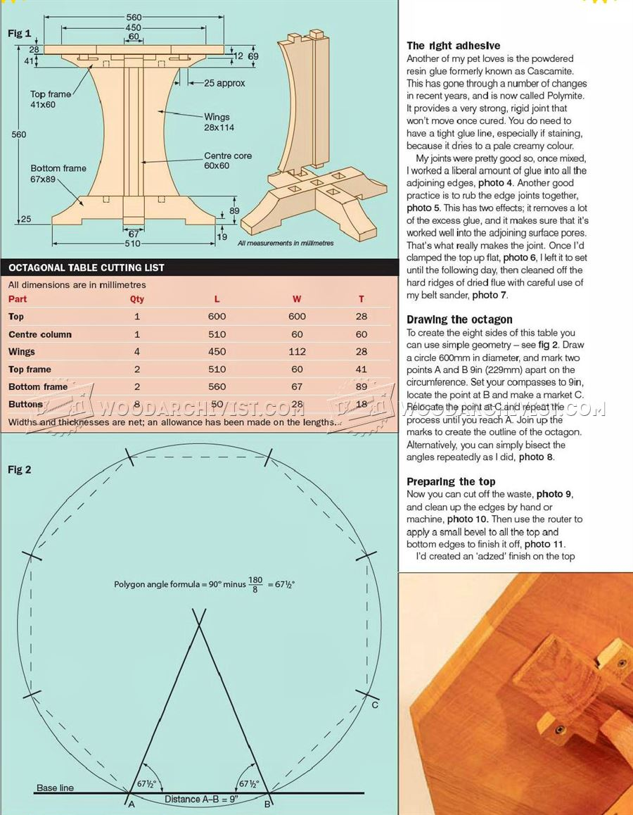 Octagon Table Plans