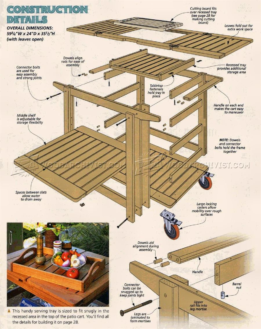 Patio Serving Cart Plans - Outdoor Furniture Plans