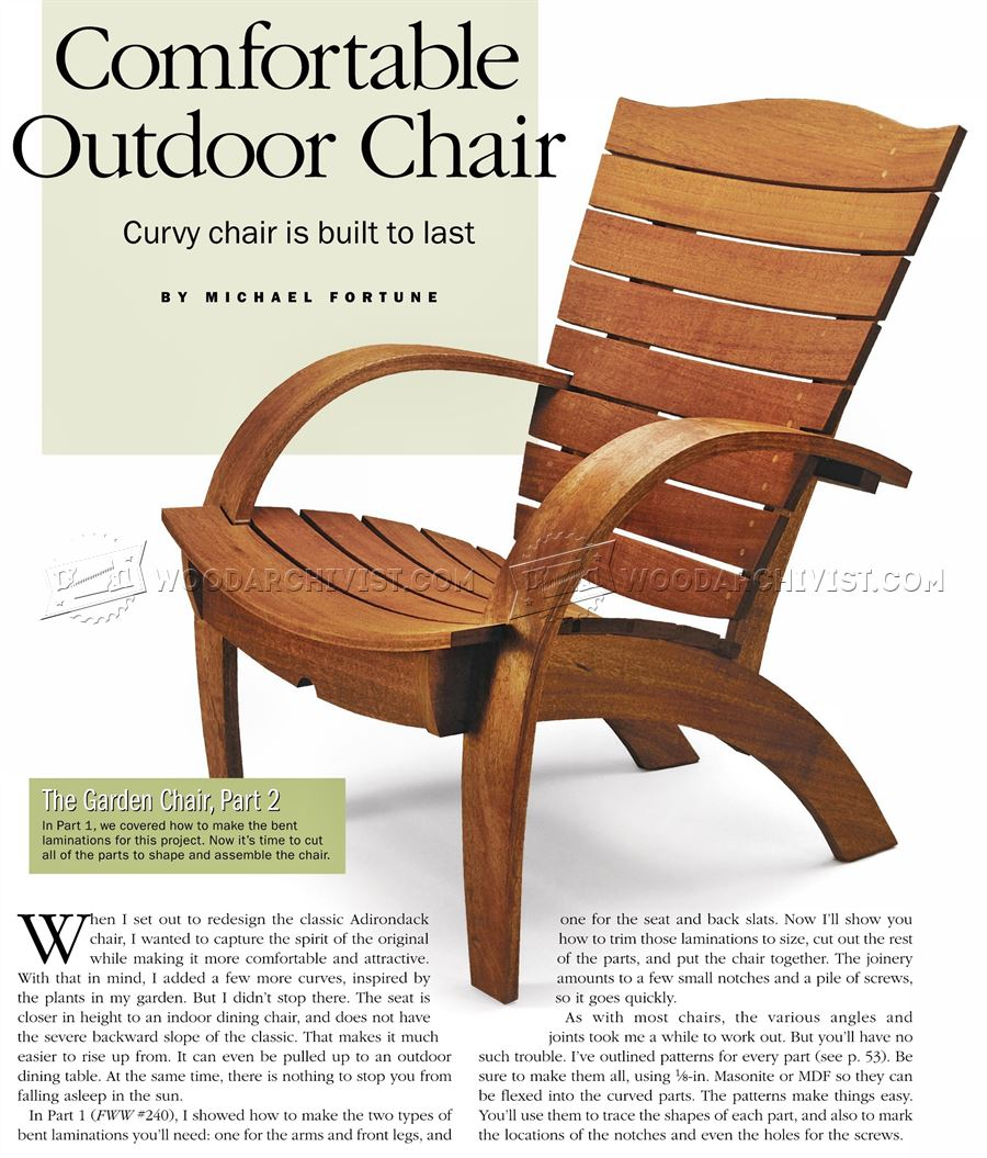 Outdoor furniture plans -  Garden Chair Plans