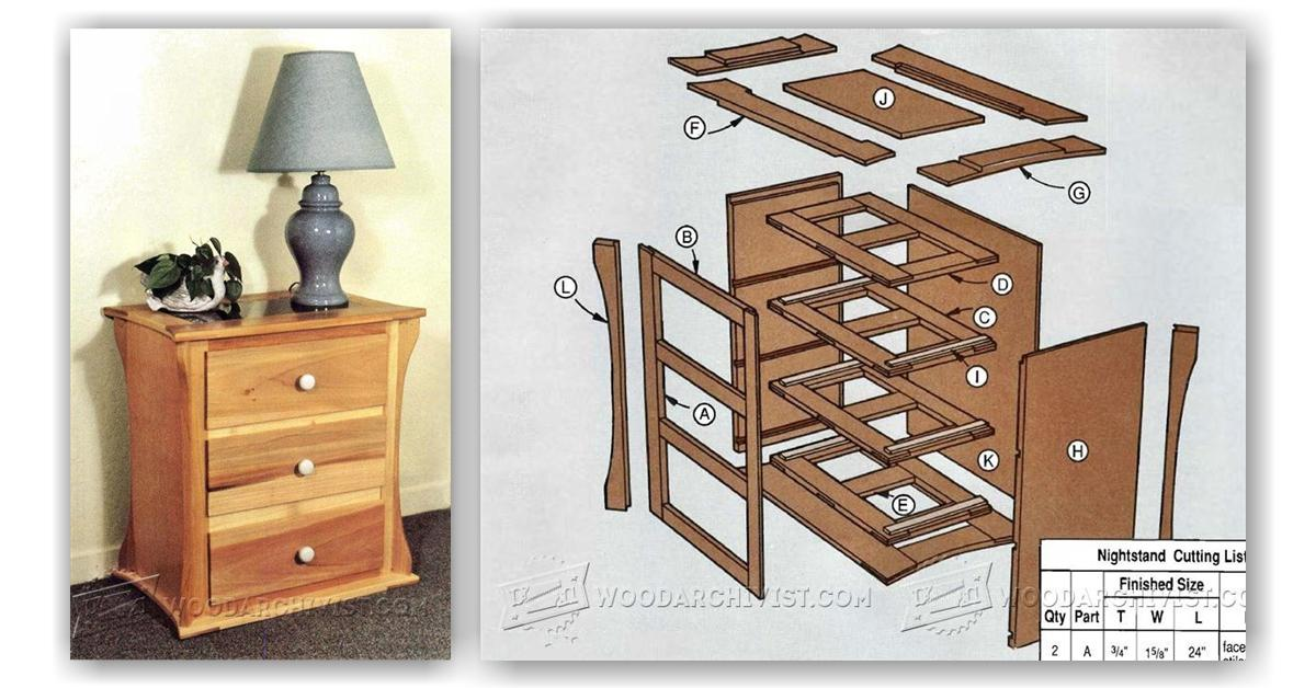 Nightstand plans woodarchivist for Free nightstand woodworking plans