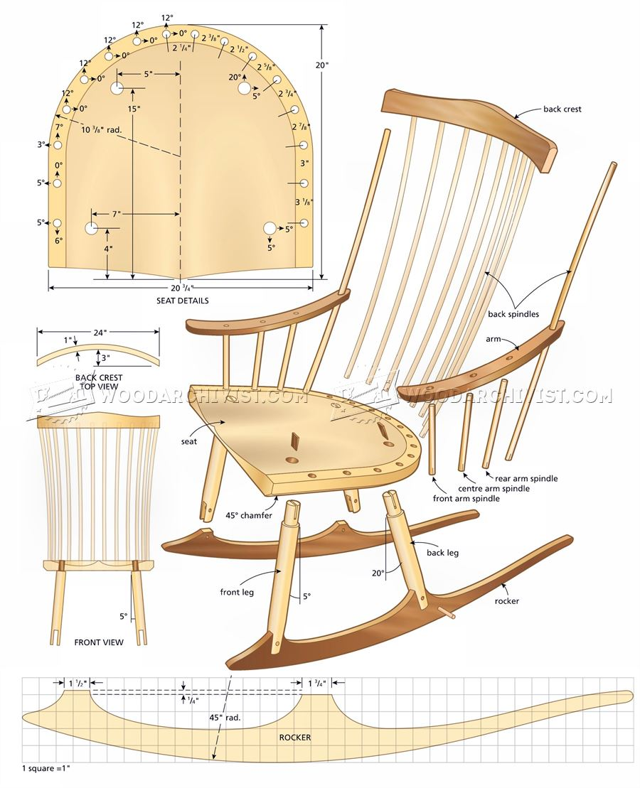 rocking chair plans woodarchivist. Black Bedroom Furniture Sets. Home Design Ideas