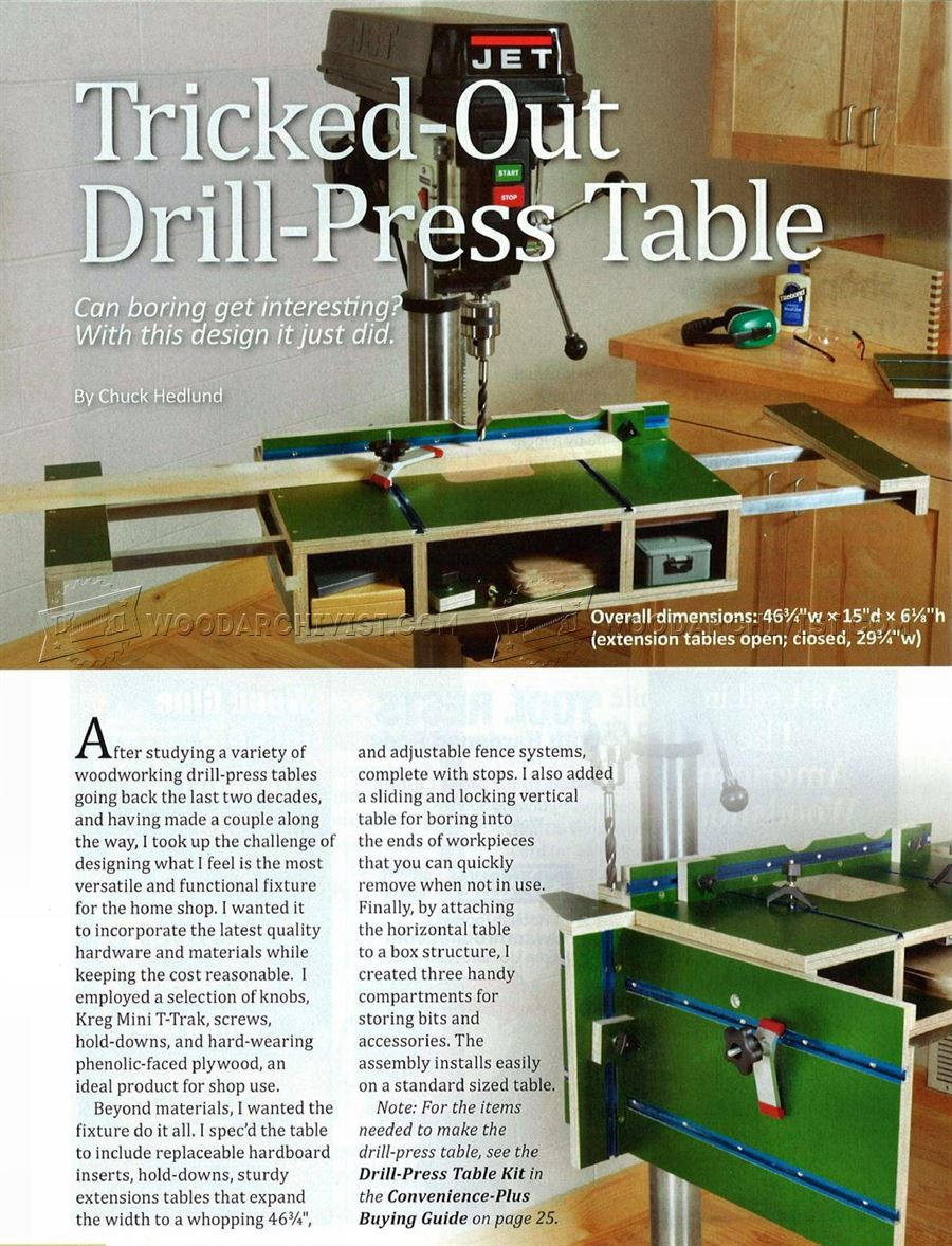 Extendable Drill Press Table Plans