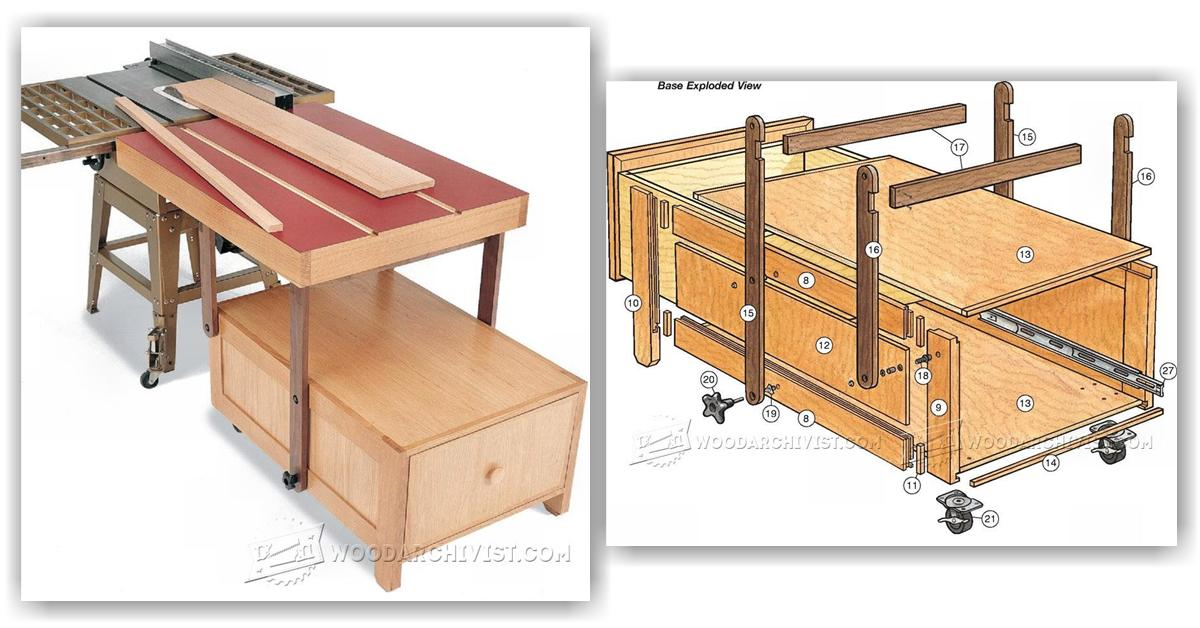 Table saw outfeed table plans woodarchivist for Table saw table plans