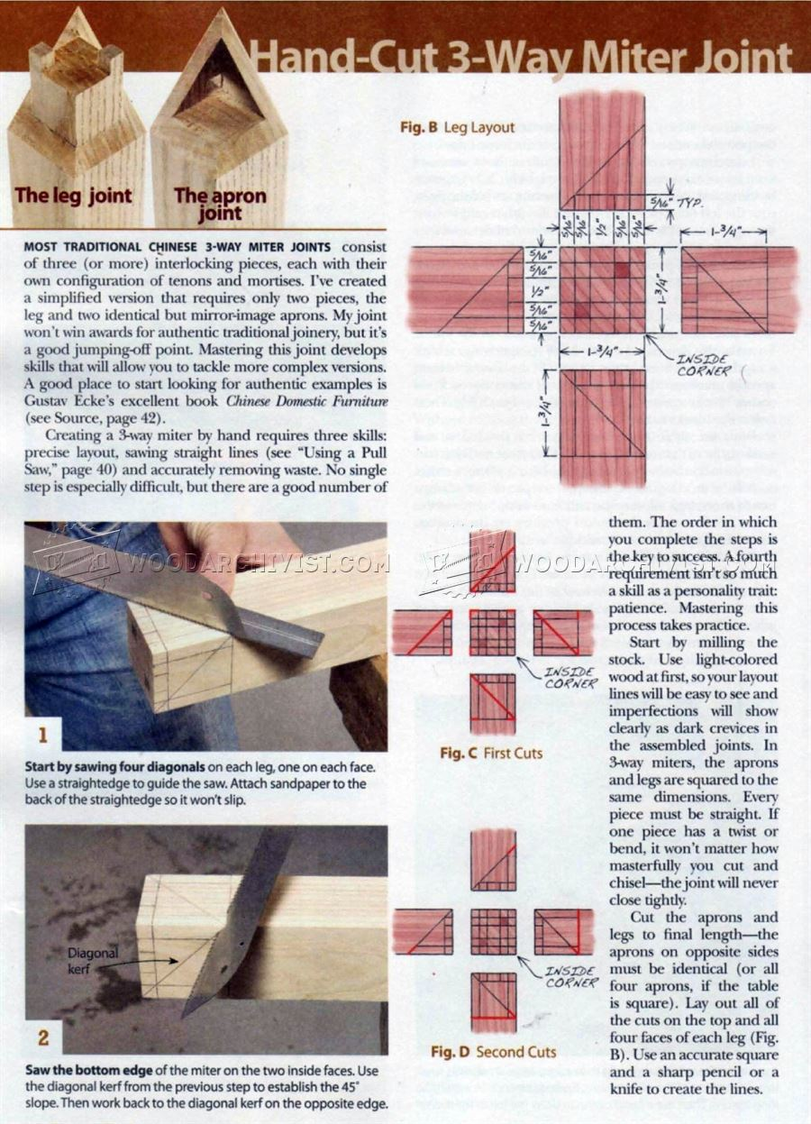 Three Way Miter Joint Woodarchivist