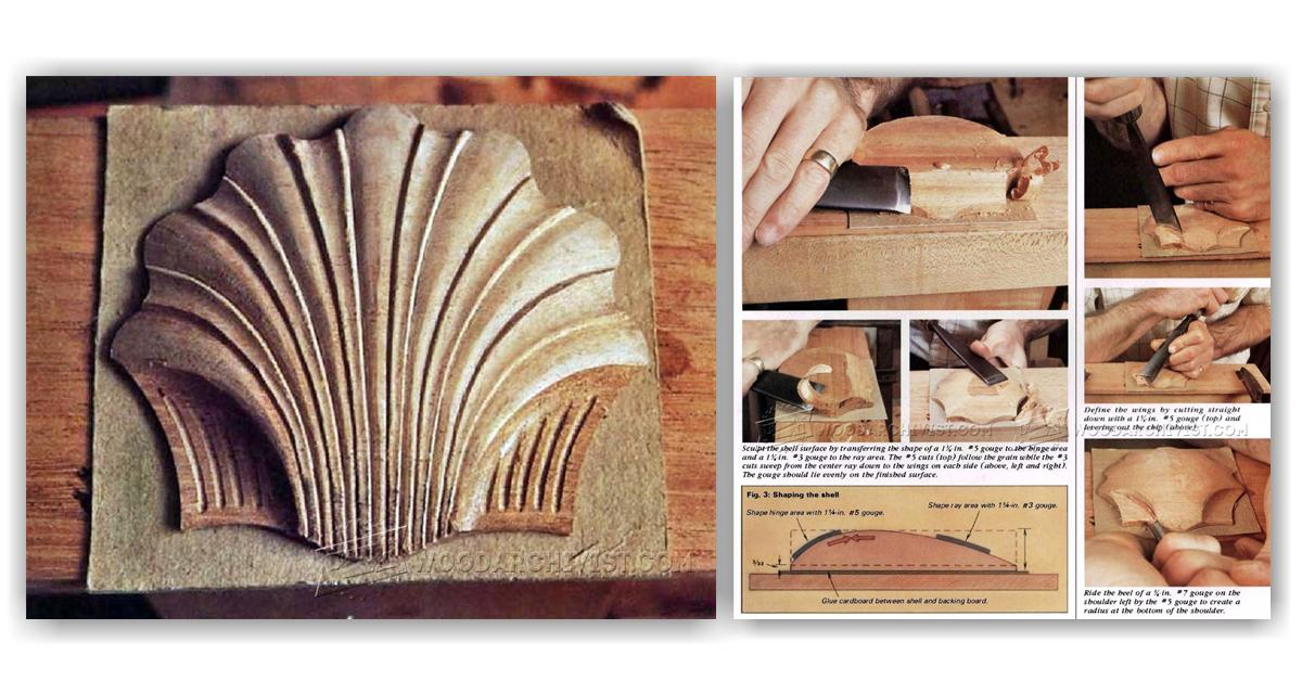 Carving scallop shell woodarchivist