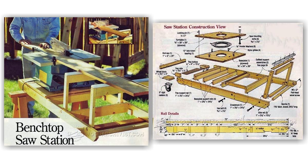 benchtop table saw station plans woodarchivist