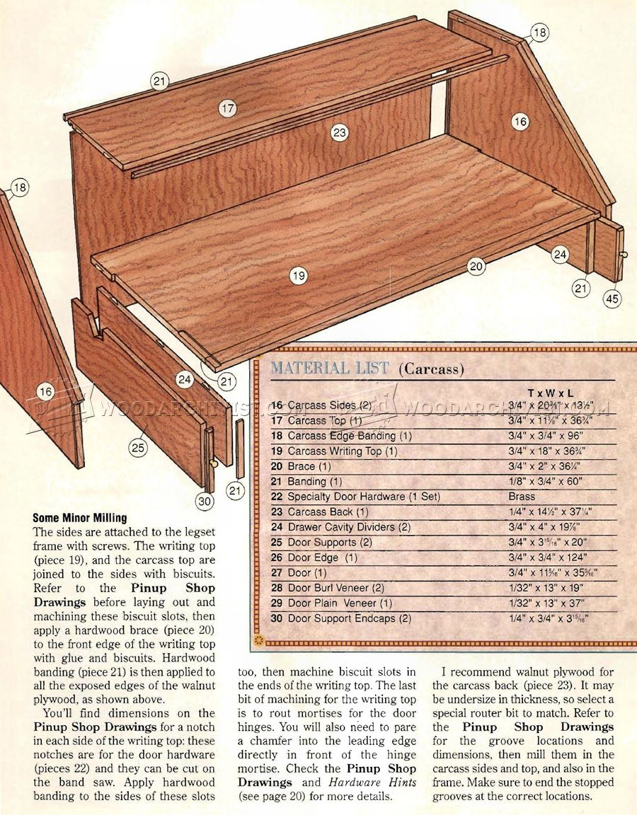 Federal Secretary Desk Plans • WoodArchivist