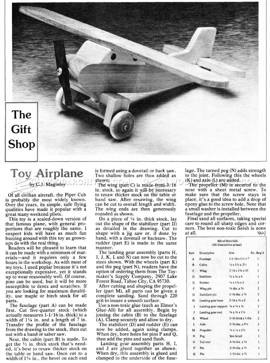 Wooden Airplane Plans