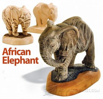 3601-African Elephant Carving