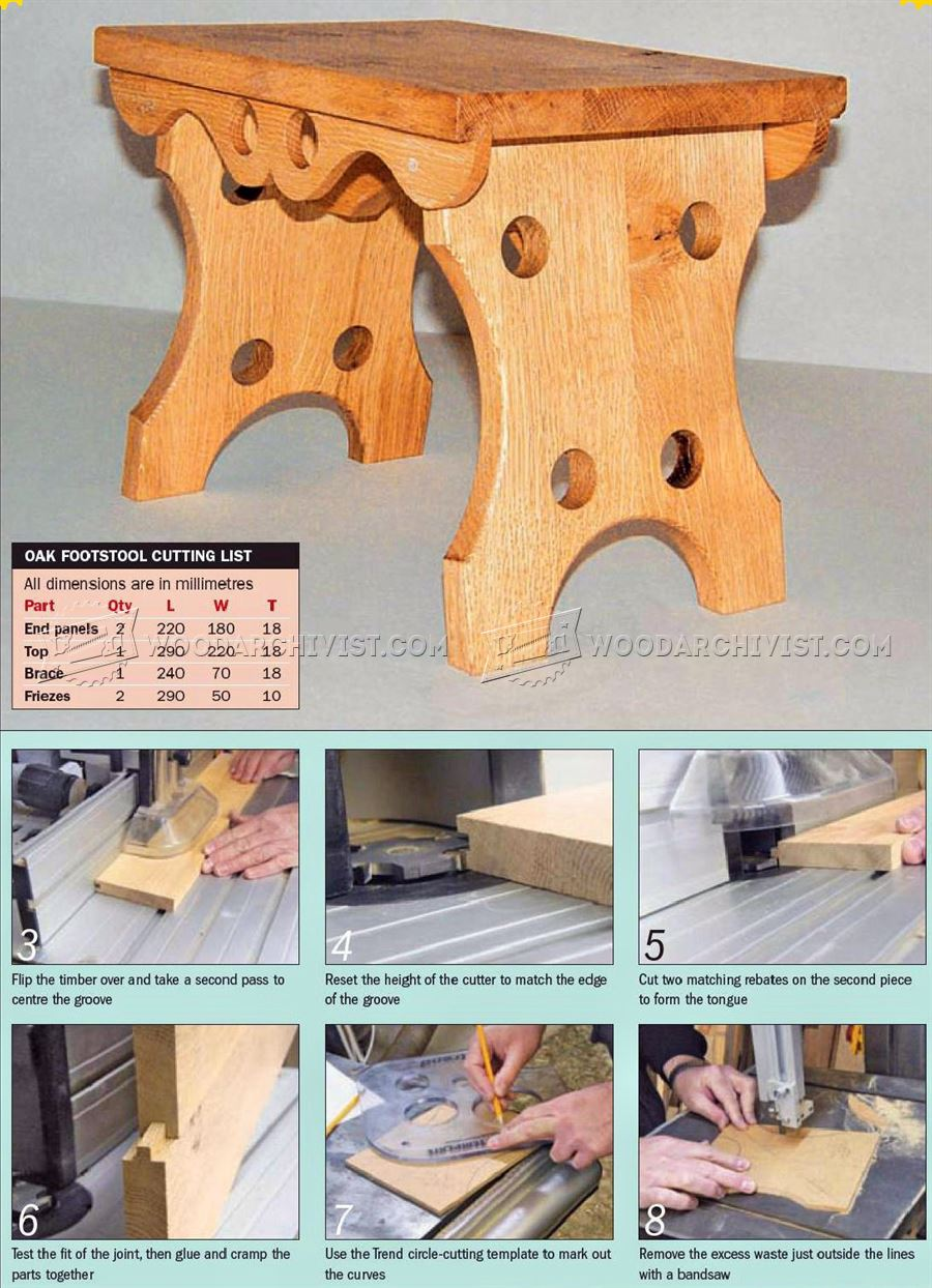 Oak Footstool Plans