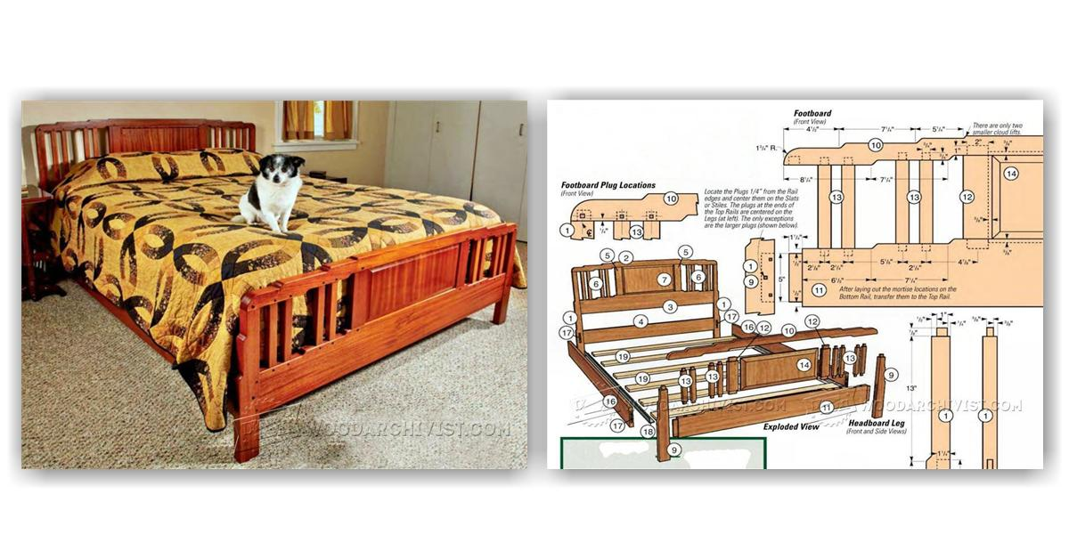 arts and crafts bed plans woodarchivist ForArts And Crafts Bed Plans
