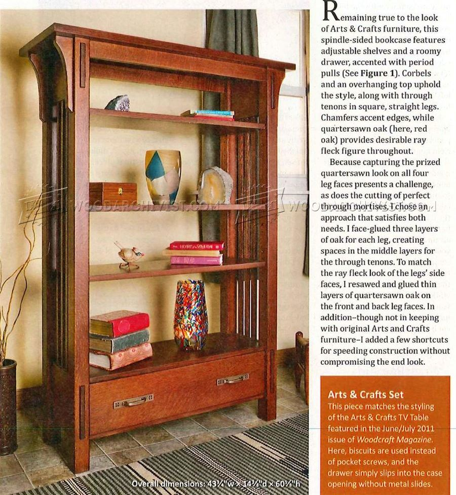 Arts and crafts furniture plans - Arts And Crafts Bookcase Plans