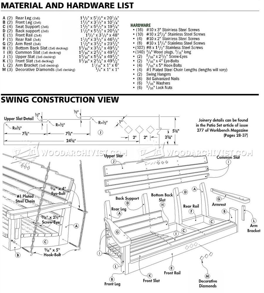 Patio Swing Plans