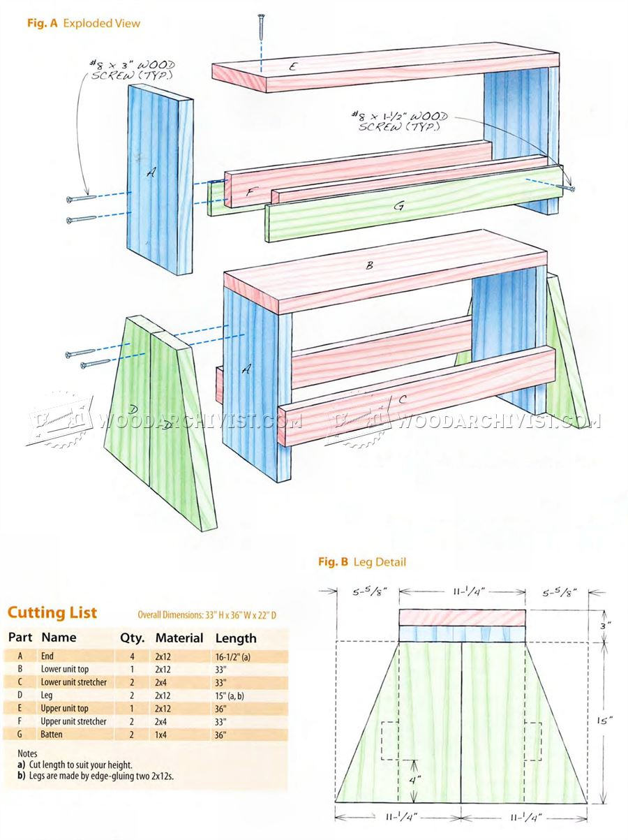 Stacking Sawhorse Bench