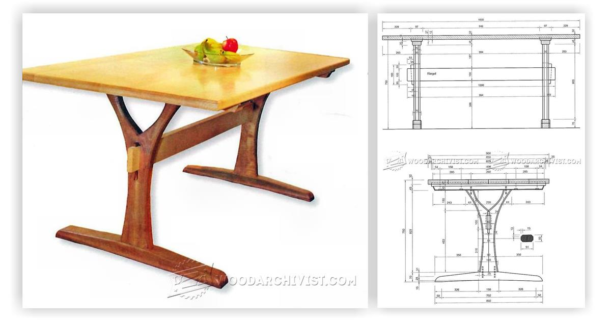 Dining table plans woodarchivist for Table design plans