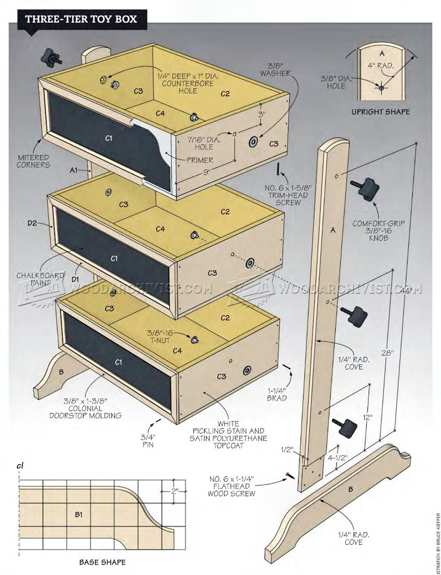 Three-Tier Toy Box Plans
