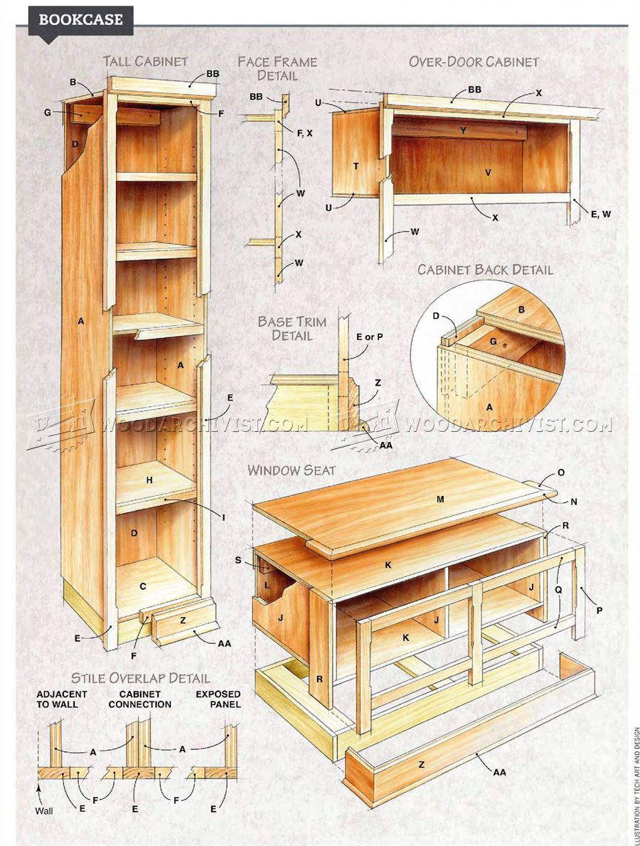 built in bookcase plans woodarchivist